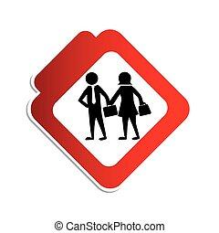 silueta, color, muestra del camino, con, pictogram, ejecutivos, hombre y mujer