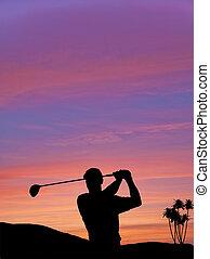 silueta, colorido, cielo, contra, ocaso, golfista