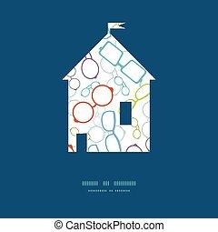 silueta, colorido, marco de la casa, vector, patrón, ...