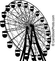 silueta, colorido, wheel., atraktsion, ilustración, ferris, ...