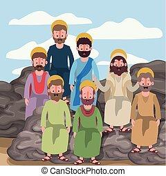 silueta, coloridos, cena, logo, apóstolos, grupo, pedras, deserto