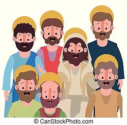 silueta, coloridos, sobre, apóstolos, fundo, grupo, branca