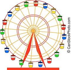 silueta, coloridos, wheel., atraktsion, illustratio, ferris, vetorial