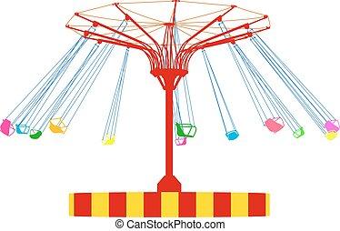 silueta, coloridos, wheel., atraktsion, ilustração, ferris, vetorial