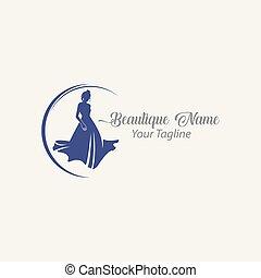 silueta, companhia, loja, desenho, moda, logotipo, pretas, diva., nome, marca, mulher
