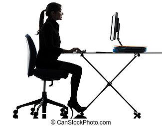 silueta, computadora, informática, mecanografía, corporación mercantil de mujer