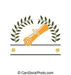 silueta, con, branchs, con, hojas, en forma, de, corona, y, certificado, de, graduación