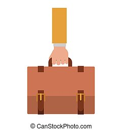 silueta, con, mano, toma, ejecutivo maletín