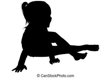 silueta, con, ruta de recorte, de, niña, sentado