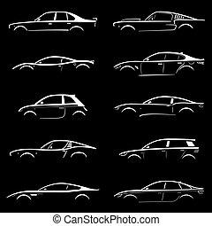silueta, conceito, jogo, car