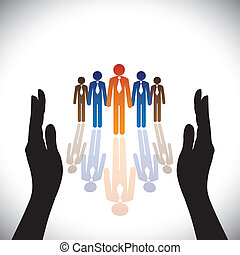 silueta, concept-, compañía, secure(protect), mano, empleados, corporativo, o, ejecutivos
