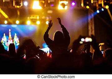 silueta, concerto, jovem, pretas, rocha, menina