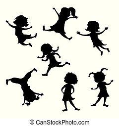 silueta, conjunto, acción, niña, posturas, caricatura