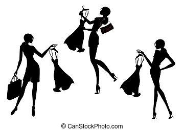 silueta, conjunto, compras, bastante, niñas