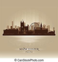 silueta, contorno, inglaterra, manchester, ciudad