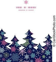 silueta, copos de nieve, patrón, marco, cielo, navidad,...
