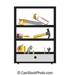 silueta, cor, com, alto, prateleira, ferramentas, caixa
