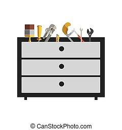 silueta, cor, com, prateleira, ferramentas, caixa