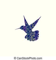 silueta, cor, padrão, espiral, animal, pássaro, hummingbird