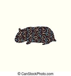 silueta, cor, padrão, espiral, roedor, hamster, animal.