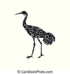 silueta, cor, padrão, espiral, shadoof, animal, pássaro