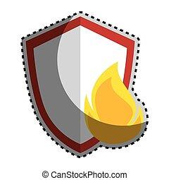 silueta, cor protetor, adesivo, chama, emblema