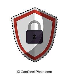 silueta, cor protetor, adesivo, padlock, emblema