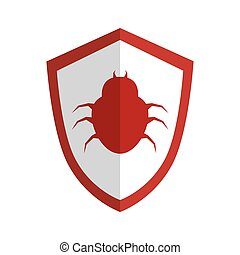 silueta, cor protetor, vírus, besouro, emblema