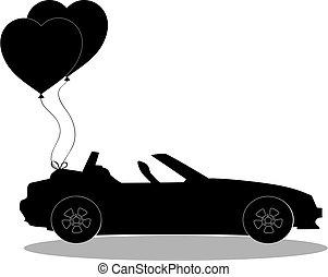silueta, coração preto, balões, par, car, aberta
