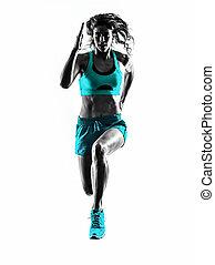 silueta, corredor, basculador, corriente, mujer, jogging
