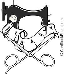 silueta, corte, desenho, cosendo