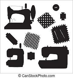 silueta, cosendo, equipamento, vetorial, pretas, máquinas