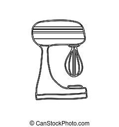 silueta, cozinha, misturador, utensílio, ícone