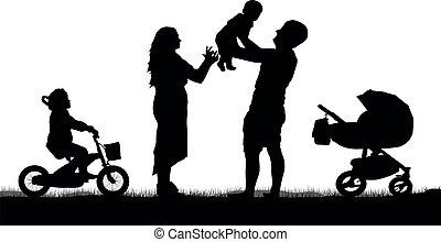 silueta, crianças, família, feliz