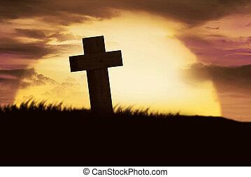 silueta, cristiano, cruz