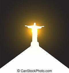 silueta, cristo, de, jesús, río, estatua, trayectoria,...