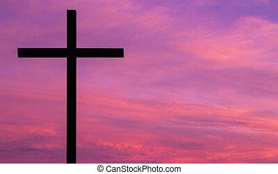 silueta, cruz, cielo