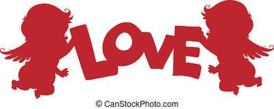 silueta, cupidos, con, amor, bandera