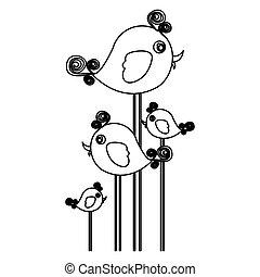 silueta, cute, caricatura, pássaros, jogo, com, redemoinho, penas
