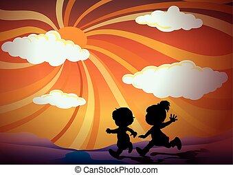 silueta, dítě běel, v, západ slunce