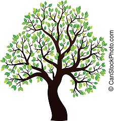 silueta, de, árvore frondosa, tema, 1