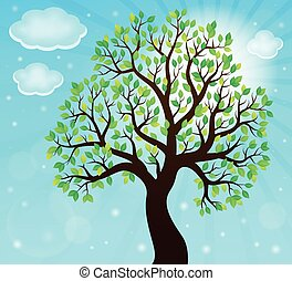 silueta, de, árvore frondosa, tema, 2