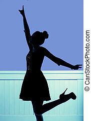 silueta, de, a, jovem, dançar, mulher