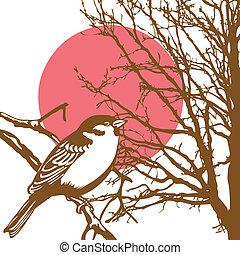 silueta, de, a, pássaro, ligado, ramo