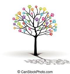 silueta, de, a, tree-paw, impressão