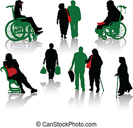 silueta, de, ancianos, y, disabl