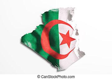 silueta, de, argelia, mapa, con, bandera