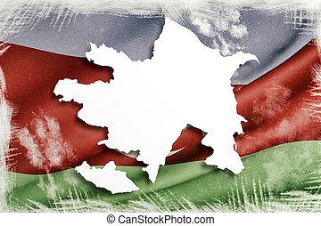 silueta, de, azerbaiyán, mapa, con, bandera