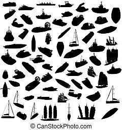 silueta, de, barcos