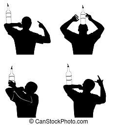 silueta, de, barman